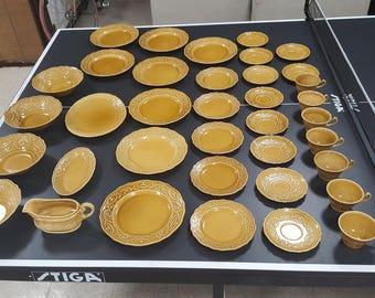 Vintage Mid-century Canonsburg Pottery Company in Golden Regency China - Yellow China Set - Vintage Plates - Mustard Yellow - Retro Kitchen