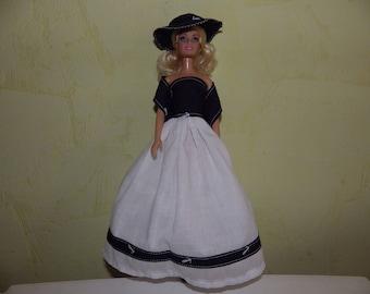 long marine style for fashion doll dress