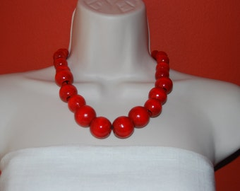 Red Statement Necklace Red Chunky Necklace and Earrings Set Red Wood Necklace and Earrings Chunky Necklace Wedding Jewelry