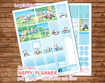 Panda Printable Planner Stickers / Mambi Happy Planner Stickers / Weekly Planner Sticker Kit / Silhouette Cutfiles / Download