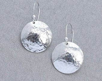 Round Silver Earrings, Sterling Silver Hammered Domed Earrings, Round Hammered Earrings, Silver Jewellery, Silver Jewelry Gift for Her