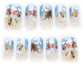 Nautical, Japanese nail art, blue, glitter, bling, sea, fish, aquarium nails, blue nails, 3D nails, fun nail art, summer nail, Harajuku