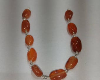 SGR066 one foot silver  plated  carnelian  nuggets   rosary chain