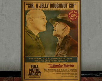 Full metal Jacket, Stanley Kubrick, Colored retro classic movie poster
