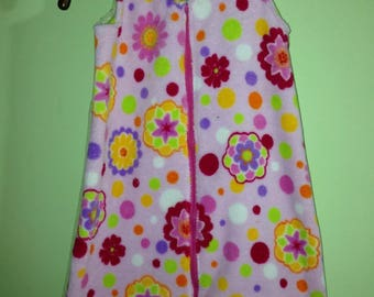 NEW-Minky Fleece-FLORAL-Blanket Sleep Sleeper Sack-6-12 Months