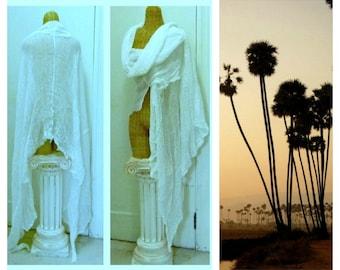 Wanderer Scarf, White Shawl, Wrap, Long, Cotton, Womens, Mens, Unisex, Fashion, Desert, Festival Scarves