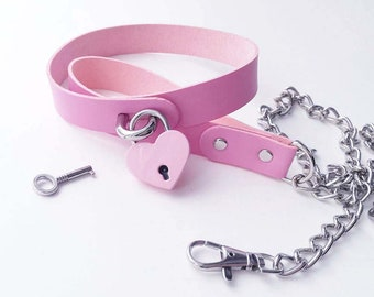 Pink faux leather bdsm collar with leash and lock. Kitten play collar. Ddlg choker. Kitten collar. Fetish wear. Pet play.