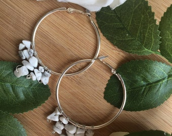 White stone chip hoop earrings, silver hoop earrings, stone chip