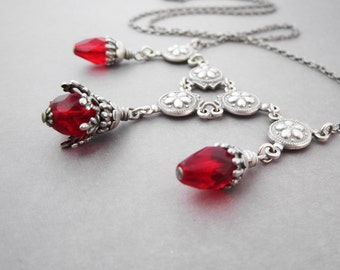 Victorian Necklace - Bright Ruby Red Blood Drops - Silver Plated - Goth Jewelry