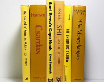 Yellow Books, Set of 6 Decorative Hardcover Books, Home Decor, Published 1955 to 1979, Vintage Books, Book Bundle, Stage Decor, Photo Props