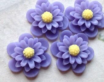 19 mm Lavender Colour Daisy Chrysanthemum Resin Flower Cabochons (.as)