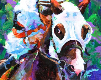Thoroughbred Racehorse Art Print of Original Acrylic Painting 11x14