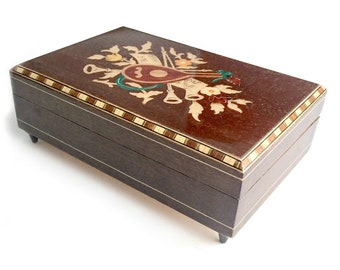 Italian Wood Inlay Music Box with Musical Instrument Design, Real Sorrento Marquetry Music Box, Happy Wanderer Music Box, Wooden Inlay Box