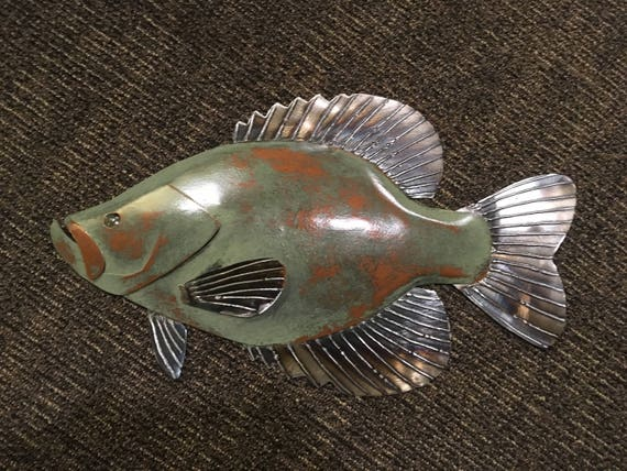 Crappie metal fish 20in  wall Art  sculpture Lake Cabin Cottage