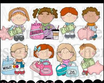 Littlekins Learn about Money Clipart for Teachers, Homeschoolers, Preschools, Daycares, Moms and more! Children Money Clipart.