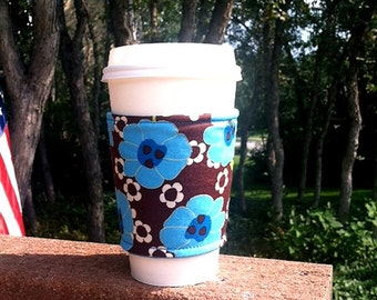FREE SHIPPING UPGRADE with minimum -  Coffee cozy / coffee sleeve / coffee cup cozy - Blues on Chocolate
