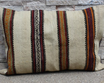 """22"""" X 33"""" Large Queen Striped Kilim Pillow Cover, Cream Red Mustard Mid-century Modern Accent Pillow, Eclectic Apartment Therapy Pillow"""