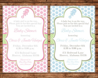 Boy or Girl Invitation Baby Rattle Quatrefoil Clover Shower Party - Can personalize colors /wording - Printable File or Printed Cards