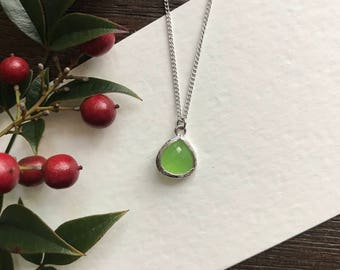 Teardrop Peridot Necklace, Birthstone Necklace, Birthday Gift, Valentines Gift, Stocking Stuffer