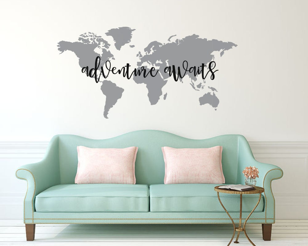 Adventure awaits world map vinyl wall decal wall sticker request a custom order and have something made just for you gumiabroncs Image collections