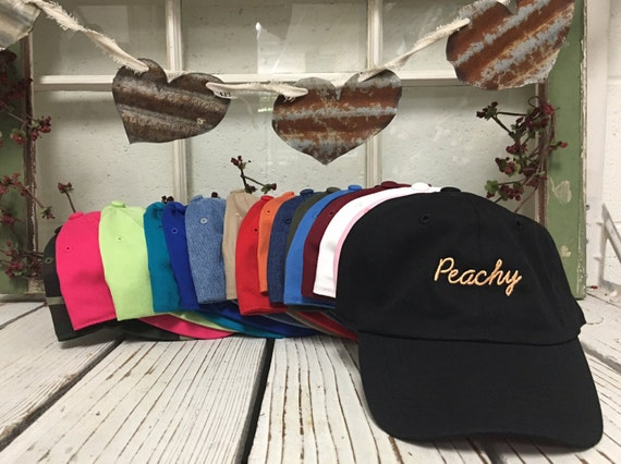 PEACHY Baseball Hat Low Profile Embroidered Baseball Caps Dad Hats Peach Thread