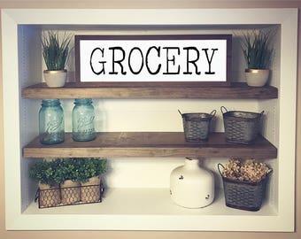 Grocery Wood Sign, Farmhouse Decor, Farmers Market, White Framed Sign, Rustic Farmhouse
