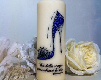 "Candle customizable ""Cinderella's shoe""."