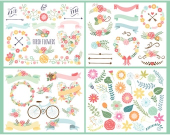 Clipart Bundle - Floral, Wedding, Laurel, Wreaths, Spring, Bicycles, Farmhouse Flowers, Commercial Use, Vector clip art, SVG Cut Files