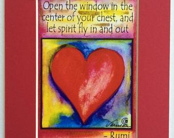 OPEN the WINDOW Let Spirit RUMI Inspirational Yoga Meditation Heart Breath Spiritual Motivational Print Heartful Art by Raphaella Vaisseau