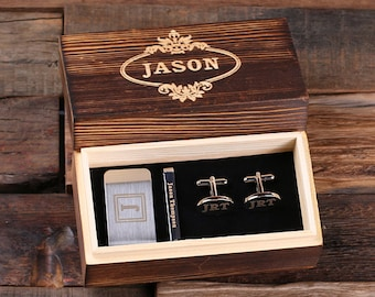 Set of 4 Personalized Gentleman's Gift Set Cuff Links, Money Clip, Tie Clip Groomsmen, Father's Day and Dad Men Boyfriend Christmas (025276)