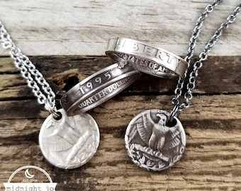 Narrow Band Coin Ring & Punch Out Necklace - 1965-1998 Custom Date Coin Jewelry Set - Anniversary Gift for Her- Birthday Gift- Coin Necklace