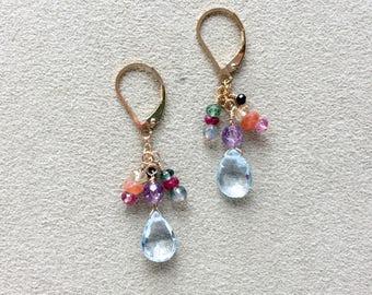 Multi-Gemstone Cascade Earrings, 14 KT Gold Filled Earrings, Blue Topaz, Rubies, Sapphires, Tourmaline Gemstones, Chakra Healing