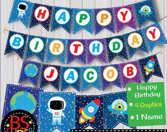 Outer Space Birthday Banner , Space Birthday Party Banner , Space Party Custom Name Banner