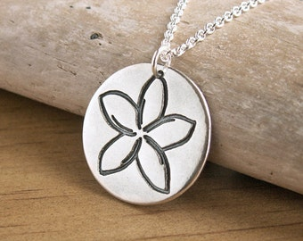 Plumeria Flower Charm Necklace unique handmade recycled fine silver tropical summer pendant charm on sterling chain