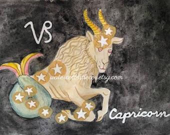 Capricorn Watercolor Print Constellation Art Astrology Astronomy Gift Goat Star Sign Decor Horoscope Zodiac Rustic Country Farm Animal