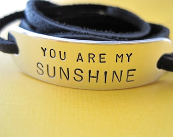 Personalized Bracelet - You are my Sunshine - Leather Wrap