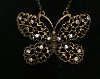 Vintage Antique gold butterfly embellished with clear crystals necklace, butterfly necklace, gold jewelry, christmas gift, butterfly jewelry