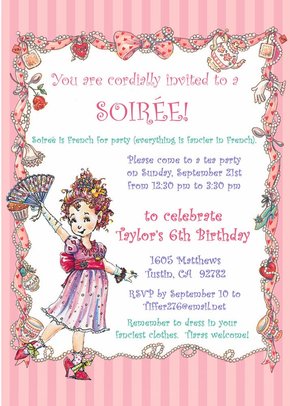 Fancy nancy party invitation 5xx7 you stopboris Gallery