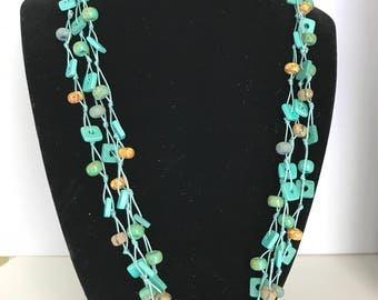 Turquoise Necklace Southwestern Jewelry, Multi-strand Bead Necklace, Wood jewelry, Southwestern jewelry, Tagua Nut, Sterling Silver Clasp