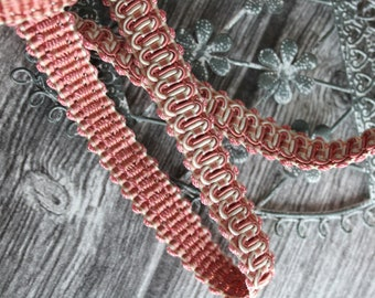 Crack guipure French passementerie, 3.20 ml SWELLS, two-tone stripe brand: salmon, ivory, pink stripe 12mm 216