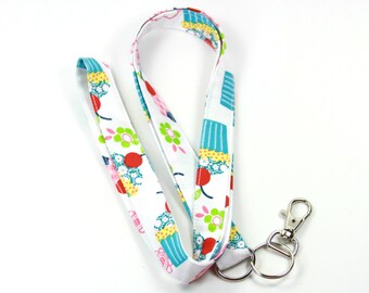 CUPCAKES Fabric Lanyard, Fabric Badge Holder, Cupcakes lanyard, Colorful lanyard