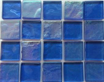 1 in. Royal Slate Blue Transparent Iridescent Glass Mosaic Tiles//Mosaic Pieces//Mosaic Supplies//Craft Jewelry Supplies//Mosaic Tiles