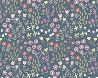 Flowers on Denim Blue - Bunny Garden from Lewis and Irene - Full or Half Yard Small Scale Floral on Blue