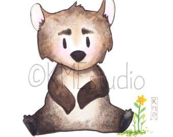 Bear - Woodland Jungle Animal Nursery Print