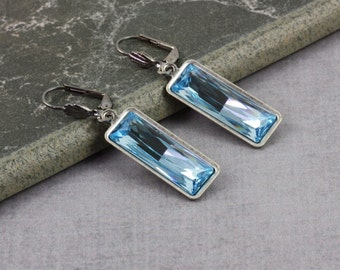 Aqua Drop Earrings Crystal Earrings Blue Bridal Jewelry March Birthstone Birthstone Earrings Dangle Aquamarine Wedding Jewelry Mothers Day