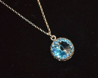 Necklace, Sterling Silver and Swarovski Crystal Necklace