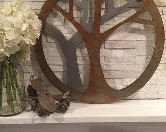 24x24 Rustic Abstract Modern Layered Metal Tree Art Home Decor Sign