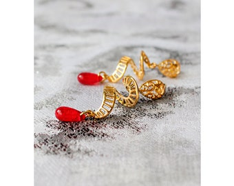 red studs drop earrings spiral jewelry novelty earrings elegant studs modern earrings hostess gifts wife birthday пя22
