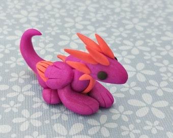 Handmade, Purple and Pink, Polymer Clay Mini Dragon