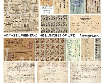 EPHEMERA BUSINESS digital collage sheet, vintage text ledgers stamps receipts ads, antique handwriting paper, altered art images DOWNLOAD